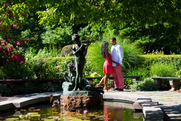 Alexandria and Marcus, Central Park Conservatory Garden Engagement Shoot