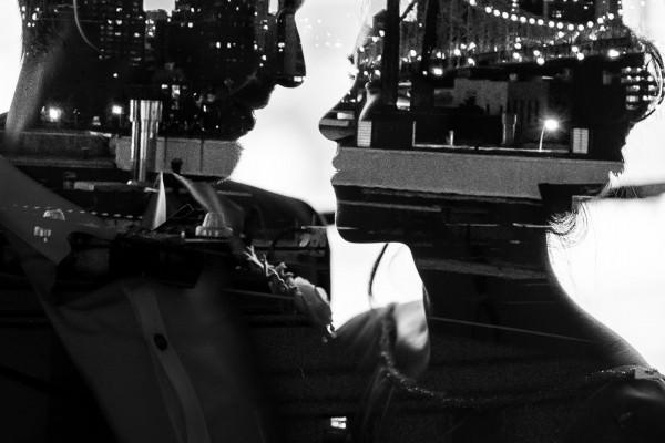 Double Exposure, Black and White Photograph, Metropolitan Building Wedding