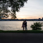 Riverside park engagement shoot