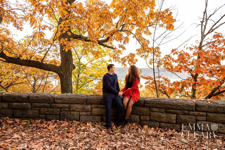 Fall foliage Engagement shoot